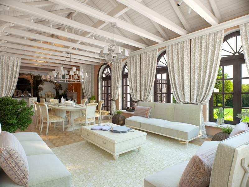 Светлые плотные шторы в классическом стиле